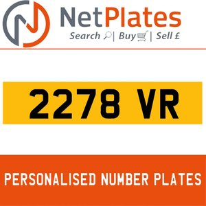 2278 VR PERSONALISED PRIVATE CHERISHED DVLA NUMBER PLATE For Sale