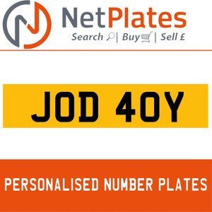 JOD 40Y PERSONALISED PRIVATE CHERISHED DVLA NUMBER PLATE