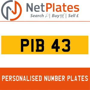 PIB 43 PERSONALISED PRIVATE CHERISHED DVLA NUMBER PLATE For Sale