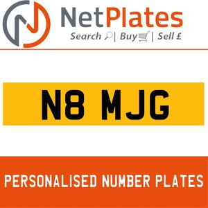 N8 MJG PERSONALISED PRIVATE CHERISHED DVLA NUMBER PLATE For Sale