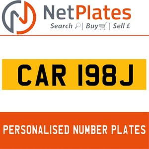 CAR 198J PERSONALISED PRIVATE CHERISHED DVLA NUMBER PLATE For Sale