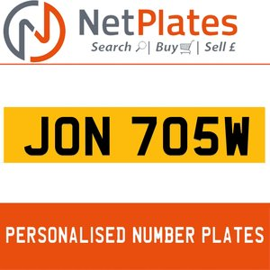 JON 705W PERSONALISED PRIVATE CHERISHED DVLA NUMBER PLATE For Sale