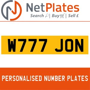 W777 JON PERSONALISED PRIVATE CHERISHED DVLA NUMBER PLATE For Sale