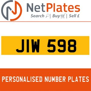 JIW 598 PERSONALISED PRIVATE CHERISHED DVLA NUMBER PLATE