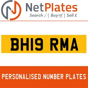 BH19 RMA PERSONALISED PRIVATE CHERISHED DVLA NUMBER PLATE For Sale
