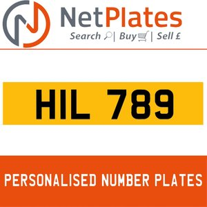 HIL 789 PERSONALISED PRIVATE CHERISHED DVLA NUMBER PLATE For Sale