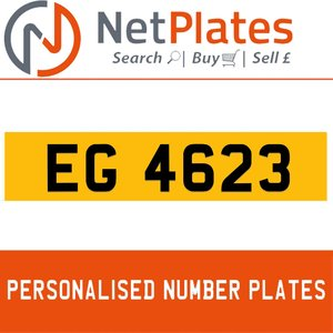 EG 4623 PERSONALISED PRIVATE CHERISHED DVLA NUMBER PLATE