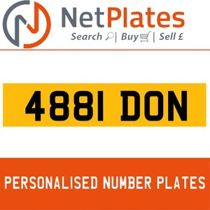 4881 DON PERSONALISED PRIVATE CHERISHED DVLA NUMBER PLATE For Sale
