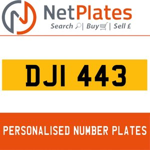 DJI 443 PERSONALISED PRIVATE CHERISHED DVLA NUMBER PLATE For Sale