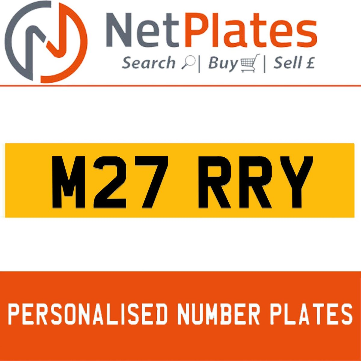 M27 RRY PERSONALISED PRIVATE CHERISHED DVLA NUMBER PLATE For Sale (picture 1 of 5)