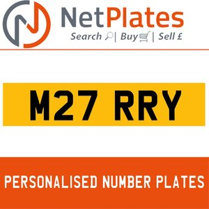 M27 RRY PERSONALISED PRIVATE CHERISHED DVLA NUMBER PLATE For Sale