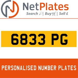 6833 PG PERSONALISED PRIVATE CHERISHED DVLA NUMBER PLATE For Sale