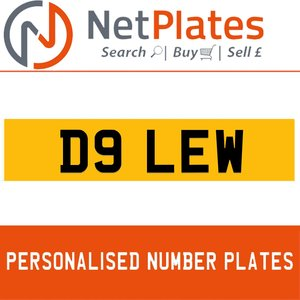 D9 LEW PERSONALISED PRIVATE CHERISHED DVLA NUMBER PLATE For Sale
