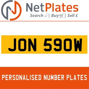 JON 590W PERSONALISED PRIVATE CHERISHED DVLA NUMBER PLATE
