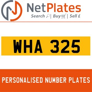 WHA 325 PERSONALISED PRIVATE CHERISHED DVLA NUMBER PLATE For Sale