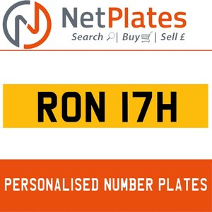 RON 17H PERSONALISED PRIVATE CHERISHED DVLA NUMBER PLATE For Sale