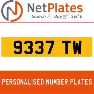 9337 TW PERSONALISED PRIVATE CHERISHED DVLA NUMBER PLATE