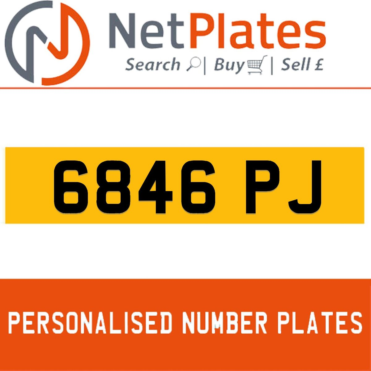 6846 PJ PERSONALISED PRIVATE CHERISHED DVLA NUMBER PLATE For Sale (picture 1 of 5)
