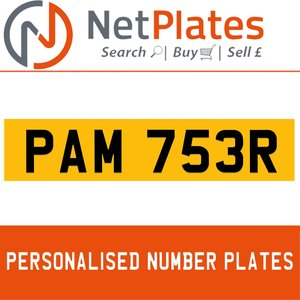 PAM 753R PERSONALISED PRIVATE CHERISHED DVLA NUMBER PLATE