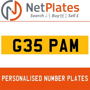 G35 PAM PERSONALISED PRIVATE CHERISHED DVLA NUMBER PLATE For Sale
