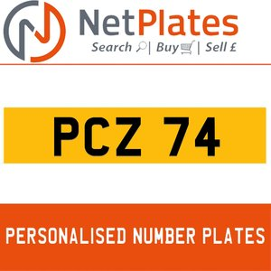 PCZ 74 PERSONALISED PRIVATE CHERISHED DVLA NUMBER PLATE For Sale