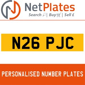 N26 PJC PERSONALISED PRIVATE CHERISHED DVLA NUMBER PLATE For Sale