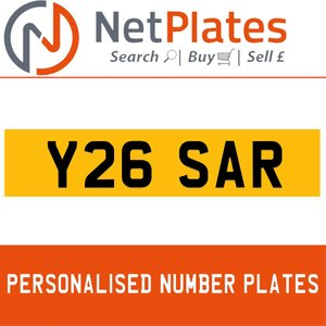 Y26 SAR PERSONALISED PRIVATE CHERISHED DVLA NUMBER PLATE For Sale