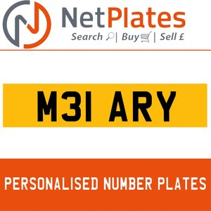 M31 ARY PERSONALISED PRIVATE CHERISHED DVLA NUMBER PLATE For Sale