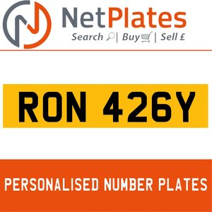 RON 426Y PERSONALISED PRIVATE CHERISHED DVLA NUMBER PLATE For Sale