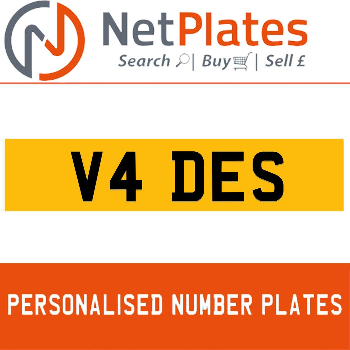 V4 DES PERSONALISED PRIVATE CHERISHED DVLA NUMBER PLATE For Sale (picture 1 of 5)