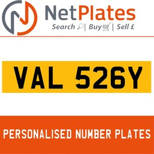 VAL 526Y PERSONALISED PRIVATE CHERISHED DVLA NUMBER PLATE For Sale