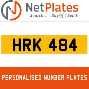 HRK 484 PERSONALISED PRIVATE CHERISHED DVLA NUMBER PLATE For Sale