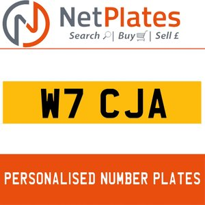 W7 CJA PERSONALISED PRIVATE CHERISHED DVLA NUMBER PLATE For Sale