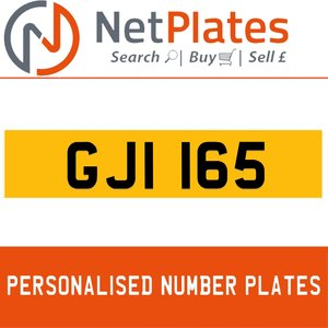 GJI 165 PERSONALISED PRIVATE CHERISHED DVLA NUMBER PLATE For Sale