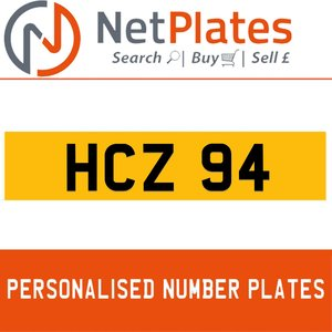 HCZ 94 PERSONALISED PRIVATE CHERISHED DVLA NUMBER PLATE For Sale