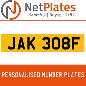 JAK 308F PERSONALISED PRIVATE CHERISHED DVLA NUMBER PLATE For Sale
