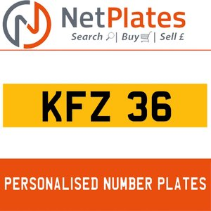 KFZ 36 PERSONALISED PRIVATE CHERISHED DVLA NUMBER PLATE For Sale