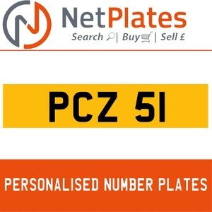 PCZ 51 PERSONALISED PRIVATE CHERISHED DVLA NUMBER PLATE For Sale
