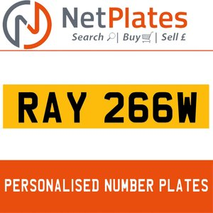 RAY 266W PERSONALISED PRIVATE CHERISHED DVLA NUMBER PLATE For Sale