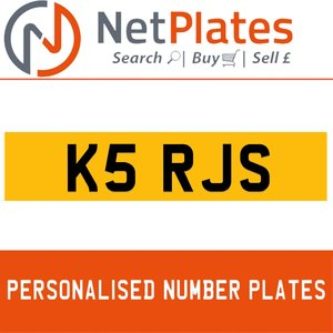 K5 RJS PERSONALISED PRIVATE CHERISHED DVLA NUMBER PLATE For Sale