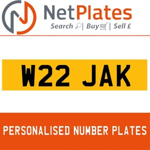W22 JAK PERSONALISED PRIVATE CHERISHED DVLA NUMBER PLATE For Sale