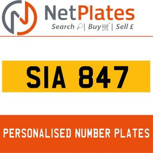 SIA 847 PERSONALISED PRIVATE CHERISHED DVLA NUMBER PLATE For Sale