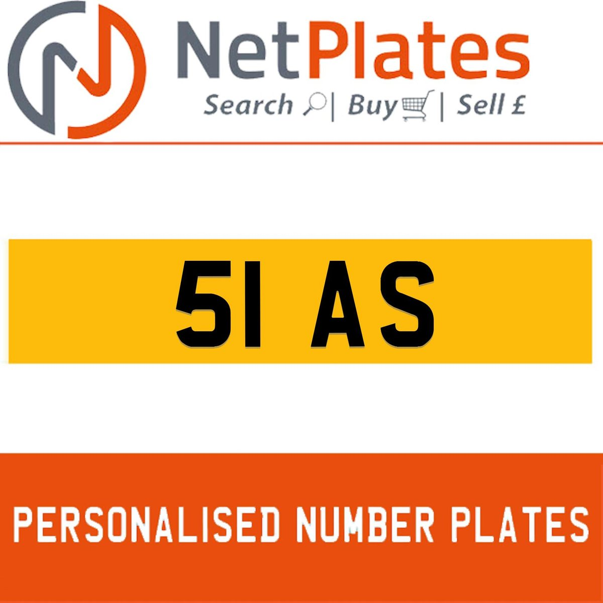 51 AS PERSONALISED PRIVATE CHERISHED DVLA NUMBER PLATE For Sale (picture 1 of 5)