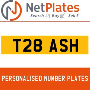 T8 ASH PERSONALISED PRIVATE CHERISHED DVLA NUMBER PLATE