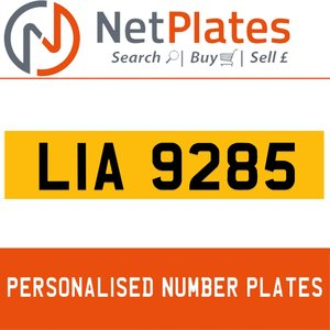 LIA 9285 PERSONALISED PRIVATE CHERISHED DVLA NUMBER PLATE For Sale