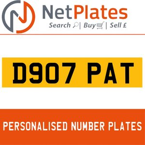 D907 PAT PERSONALISED PRIVATE CHERISHED DVLA NUMBER PLATE For Sale
