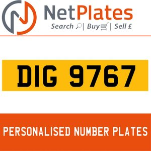DIG 9767 PERSONALISED PRIVATE CHERISHED DVLA NUMBER PLATE For Sale