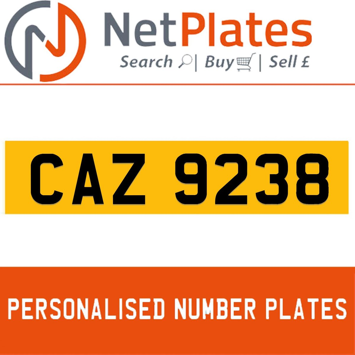 CAZ 9238 PERSONALISED PRIVATE CHERISHED DVLA NUMBER PLATE For Sale (picture 1 of 5)