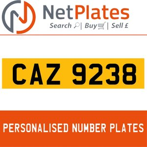 CAZ 9238 PERSONALISED PRIVATE CHERISHED DVLA NUMBER PLATE For Sale
