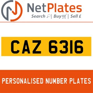 CAZ 6316 PERSONALISED PRIVATE CHERISHED DVLA NUMBER PLATE For Sale